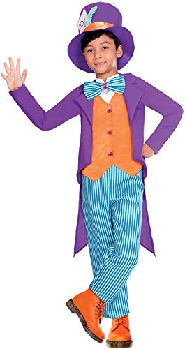 (Boys Bright Hatter Alice in Wonderland Mad Crazy Colourful World Book Day Week Carnival Fancy Dress Costume Outfit (10-12)
