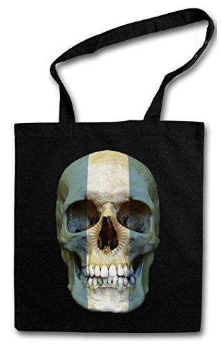 CLASSIC ARGENTINA SKULL FLAG Hipster Shopping Cotton Bag Cestas Bolsos Bolsas de la compra reutilizables - Bandera cráneo Banner Fahne Argentinien Argentina