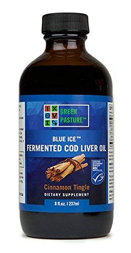Green Pasture Blue Ice Cod Liver Oil Cinnamon Tingle Liquid 8 Fl Oz.