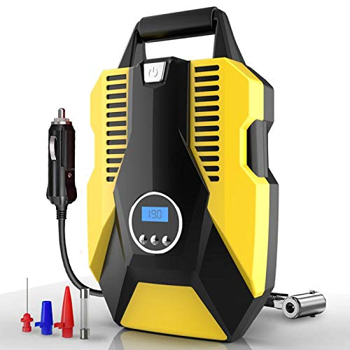 choolo Air Compressor Tire Inflator, DC 12V Portable Air Compressor for Car Tires, 150 PSI Tire Pump with LED Light, Digital Air Pump for Car Tires, Bicycle and Other Inflatables