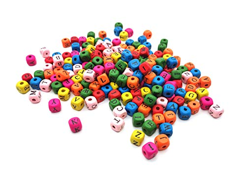 - 200 Pcs 0.47 Inch Colorful Wood Cube Letter Beads Square Wooden Beads DIY Crafts Jewelry Making Kids Toys