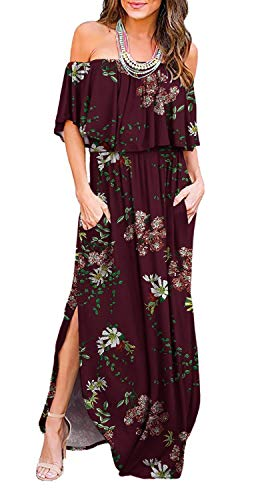 (LILBETTER Womens Off The Shoulder Ruffle Party Dresses Side Split Beach Maxi Dress (XS, F Wine Red))