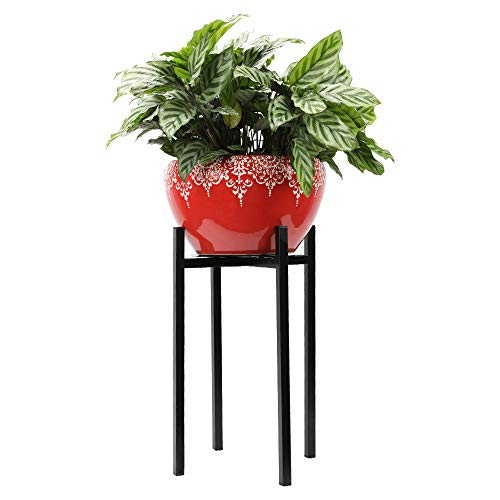 """Worth Mid-Century 16"""" Height Modern Plant Stand Display Indoor and Outdoor Home/Office/Corners Pot Metal Holder Best fit 8"""" -9.5"""" Flower Pot Extra Thicker Solid Steel Leg"""