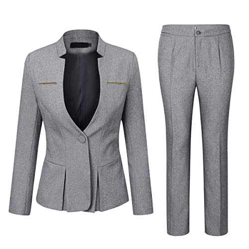 (Women's Elegant Business Two Piece Office Lady Suit Set Work Blazer Pant (Suit Set-Light Grey, M))