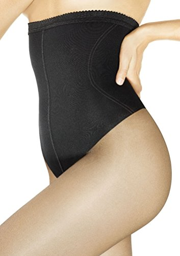 Flat Tummy Control Top Pantyhose (Marilyn Body Shaper Thong High Waist Control Top Pantyhose (Beige, L))