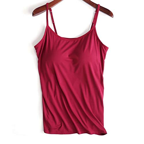 Zylioo Womens Modal Padded Camisole Active Built-in-Bra Plus Size Tanks Tops,Red,US ()