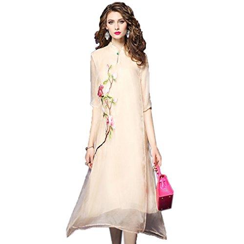 Beige Ricamo Largo Vestito Cotyledon `s Colletto Donne Vestito Coreana Alla Delle Elegante wvwPB7xA