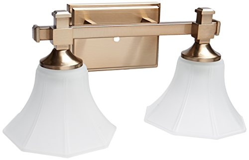 Hinkley 5852BC, Abbie Reversible Glass Wall Vanity Lighting, 2 Light, 200 Watts, Brushed Caramel (Hinkley Lighting Bathroom Fixtures)