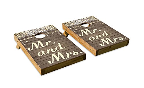 Vintage Wedding Design Cornhole/Bean Bag Toss Board Set – Made in USA Wood  - 2'x3' Tailgate Size - Includes 8 Corn-Filled Bean Bags
