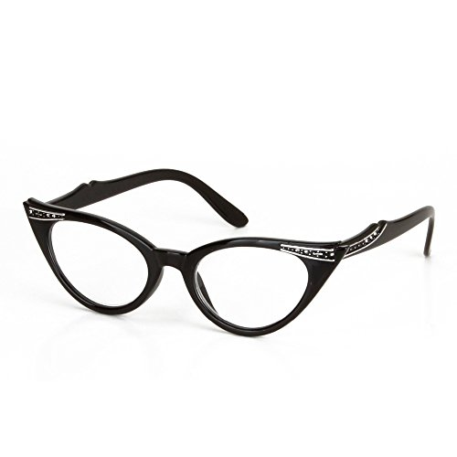 Kanical Fashion Cateye Reading Glasses Eyeglasses with Rhinestones for Women (+2.50)