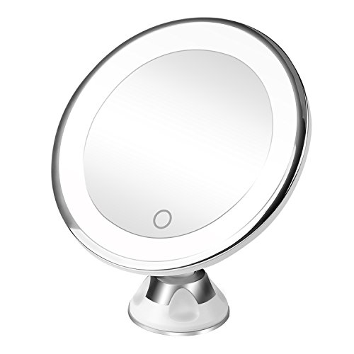 r 10X Magnifying Lighted Led Vanity Mirror with 360°Swivel Rotation Locking Suction Cup,Portable Bathroom Mirror,Dimmable Light,Battery and Usb Operated (White) (Power Zoom Mirror)