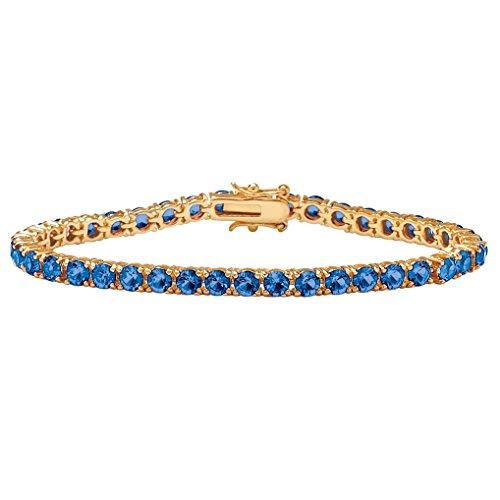 (Palm Beach Jewelry 18k Gold-Plated Round Simulated Birthstone Tennis Bracelet 7