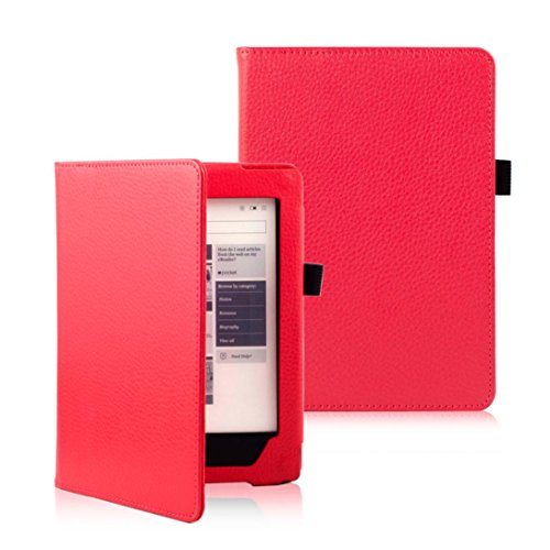Price comparison product image KOBO AURA H2O eReader Case Accessries,Sunfei Magnetic Auto Sleep Leather Cover (Red)