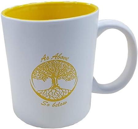 Tazas Desayuno Originales Cerámica Arbol de la Vida Amarillo Kavali Design: Amazon.es: Hogar