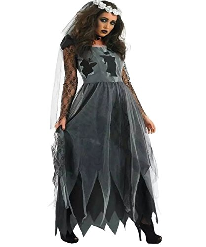 Womens Vampire Bride Costume Halloween Outfit Scary Zombie Walking Dead Dress Up (Zombie Halloween Outfit)