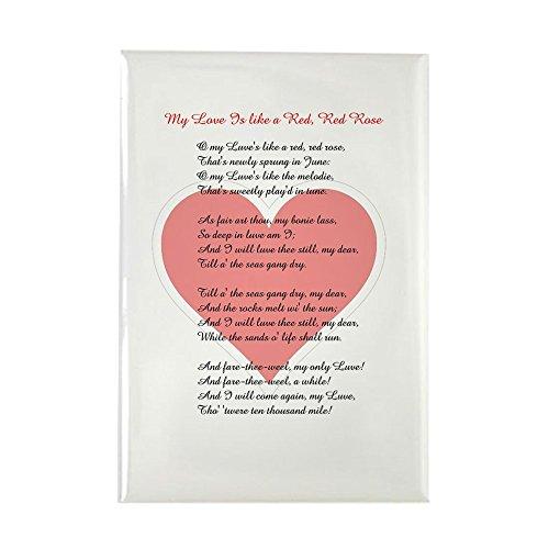 CafePress Red, Red Rose, Burns Poem Rectangle Magnet, 2