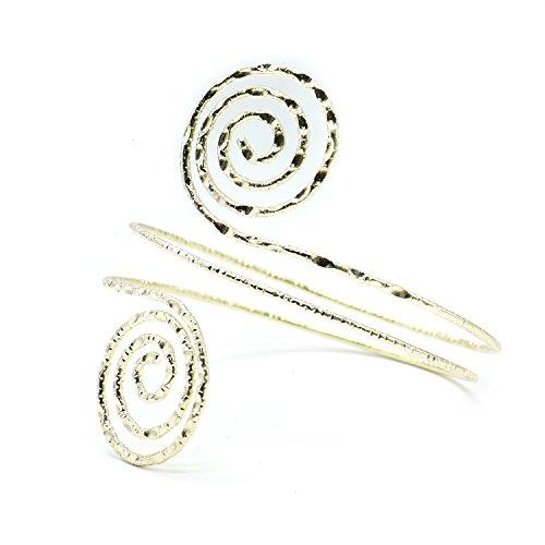 Buorsa Egyptian Victorian Filigree Swirl Gypsy Bohemian Armband Open Upper Arm Cuff Armlet Bangle ()
