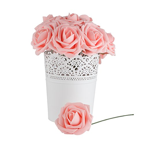 Dinopure Wedding Bouquet 50pcs Artificial Flowers White Real Touch Artificial Roses for Bouquets Centerpieces Wedding Party Baby Shower DIY Decorations (peach pink) Baby Pink Roses