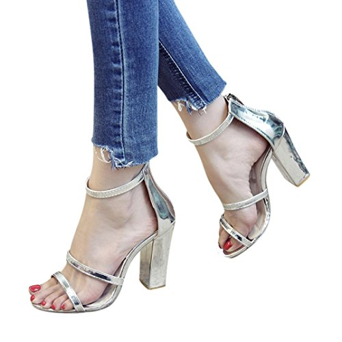 FORUU Fashion Women Zip Ladies Ankle High Heels Casual Open Toe Party Singel (39, Silver) by FORUU womens shoes