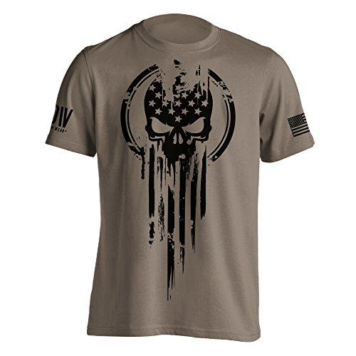 American Warrior Flag Skull Military T-Shirt XXX-Large Brown Savana