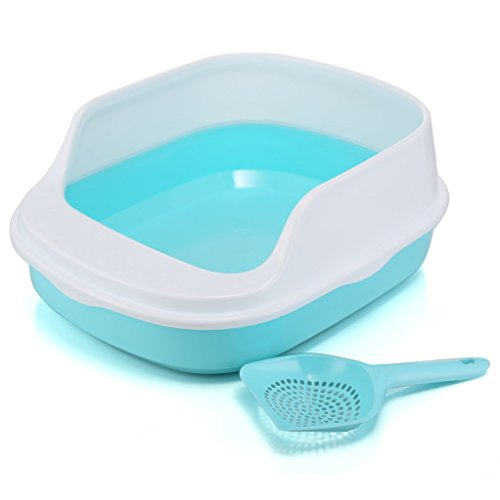 Good Kitty Litter - Be Good Open-Top Cat Kitty Litter Box Pan with Scoop Superior Hygiene Litter Box Kit System Blue