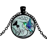 Staron Pearl Chain Choker Necklace Single Artifical New Creative Blue Hummingbird Time Gemstone Charm Pendant Necklace for Women (A)