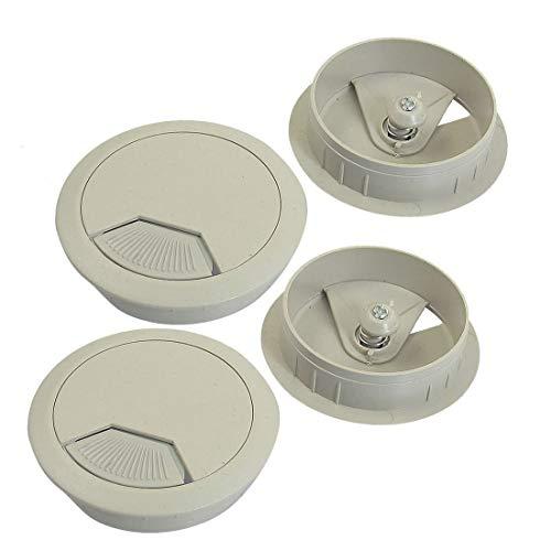 Ochoos 5cm Diameter Grommet Light Gray Cable Hole Cover for Computer Desk 4 Pcs++