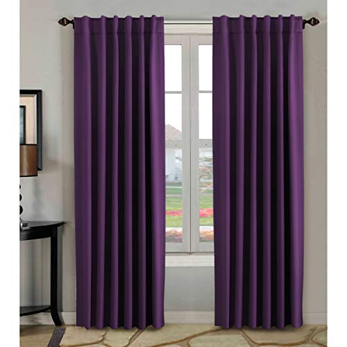 H.VERSAILTEX 100% Blackout Curtains 84 Inch Long,Thermal Insulated Rod Pocket/Back Tab Window Treatment Panels/Drapes - Sold by Pair, Plum Purple - Drapes Pair