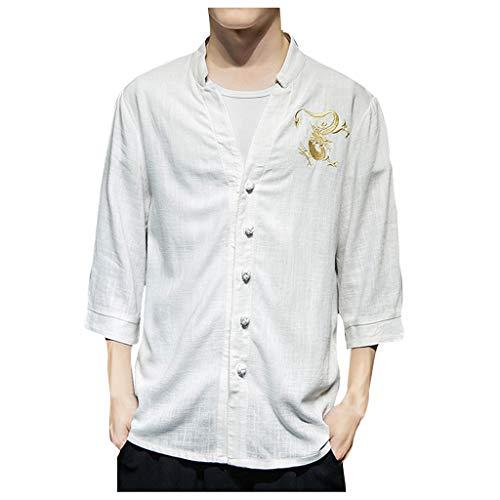 Willow S Men Casual Fashion Autumn Retro Printing Long Sleeve Solid Blouse Botton Down Vintage Wild Tees White