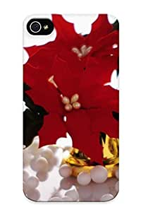 Hard Plastic Iphone 4/4s Case Back Cover, Hot Red Xmas Flowers Case For Christmas's Perfect Gift