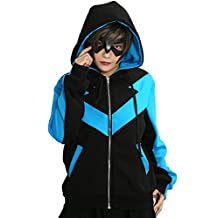 Nightwing Hoodie Sweatshirt Cotton Jacket with Zipper Blue Black Unisex Size XL