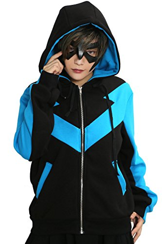 [Nightwing Hoodie Blue Black Cotton Jacket Adult Zip Up Fashion Costume Xcoser XXL] (Nightwing Halloween Costumes)