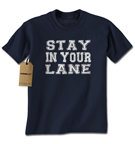 Mens Stay In Your Lane T-Shirt XX-Large Navy Blue