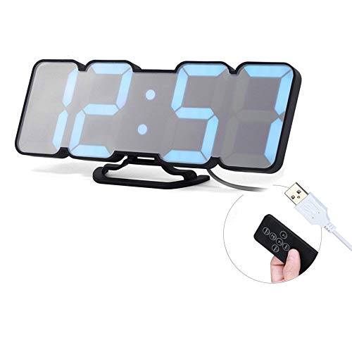 (perfeo Digital Wall/Desk Alarm Clock, with 115 Color Variations of LED Digital, Sound Control, Remote Controller, 3 Levels of Brightness to Adjust)