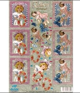 Victorian Girls with Flowers Die Cut 3-D Decoupage Sheet by Dufex