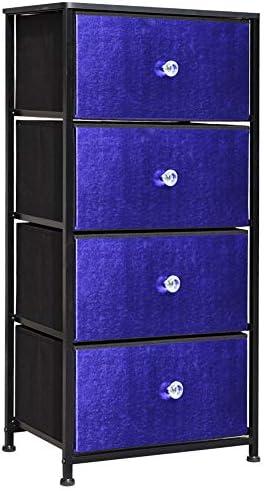 Prime Garden Vertical Dresser Storage Tower, 4 Drawer Organizer Unit for Bedroom, Hallway, Entryway, Closets, Blue