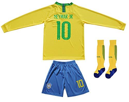 (FCB Brazil Neymar JR #10 Home Football Soccer Kids Jersey Short Socks Set Youth Sizes (Long, 12-13 Years))