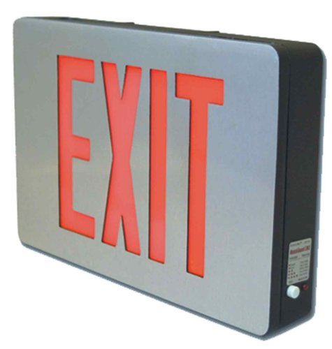 Sure-Lites CX61 LED Die Cast Exit Sign, Brushed Aluminum Black Housing, Single Face, Red and Green Letters Wall Mounted Exit Sign