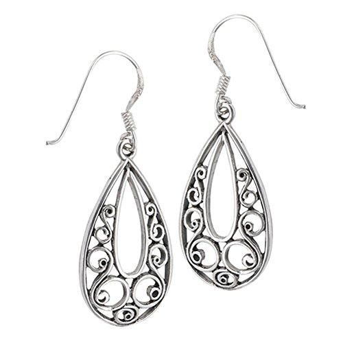 Teardrop Dangle Filigree Scroll Open .925 Sterling Silver Swirl Bohemian Earrings ()