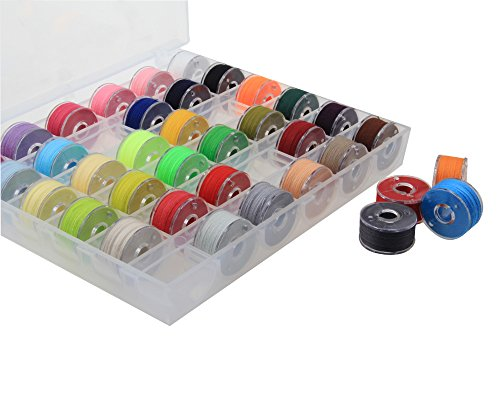 Exsart 36 Pcs Bobbins and Sewing Thread with Case for Brother/Babylock/Janome/Elna/Singer, Assorted Colors by Exsart