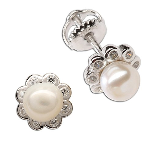 Girl's Sterling Silver White Cultured Pearl Button Earring with CZs (Screw -
