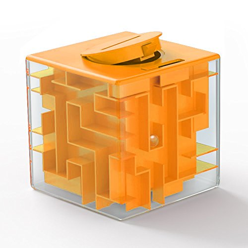 LIGHTTHEBO Money Maze Puzzle Box Gift Money Puzzle, Funny and Cool Brain Teasers for Kids - Safe for Boys, Girls, Teens(Orange)