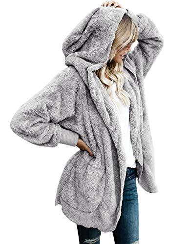 (Vetinee Women's Faux Fur Coat Hooded Cardigan Fuzzy Fleece Long Jacket Outerwear Light Gray Size S)