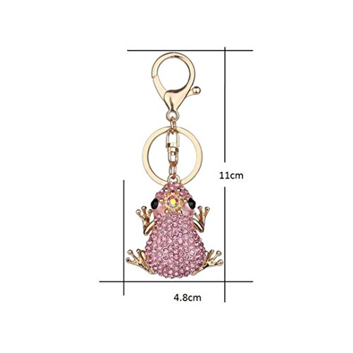 Diamond-encrusted Gallity Crown Frog Keychain Lady Bag Key Ring Decorated Car Hang Decoration (Pink) (Frog Metal Keychain)