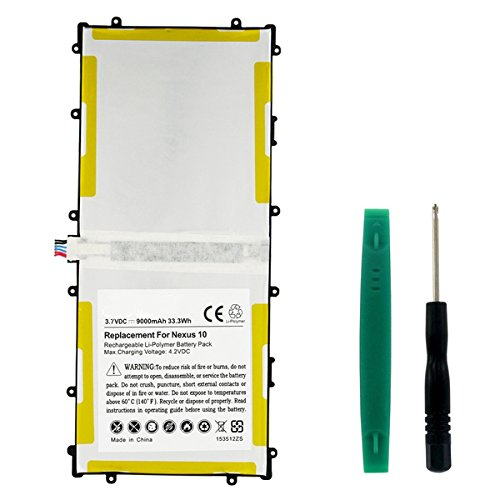 Synergy Digital Battery Compatible with Google NEXUS 10 Tablet Battery (Li-Pol 3.7V 9000mAh) - Replacement For GOOGLE GT-P8110 Tablet Battery
