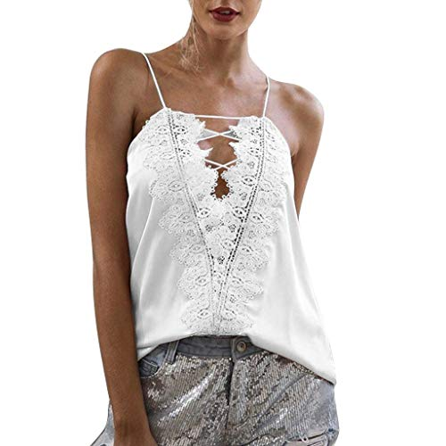 NCCIYAZ Womens Cami Top Vest Tank Ethnic Boho Lace V-Neck Straps Ladies Beach Casual Sleeveless Blouse(M(4),White Ⅱ) (Williams Ted Merchandise)