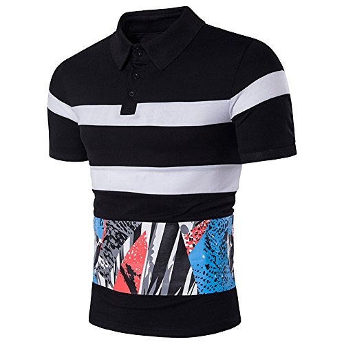 Cottory Mens Short Sleeve Textured Stripe With Colorful Graphic Sport Polo Tee Black X-Large