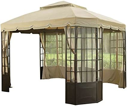 Garden Winds Replacement Canopy Top Cover for Sears Bay Window Gazebo – Riplock 350 – Beige