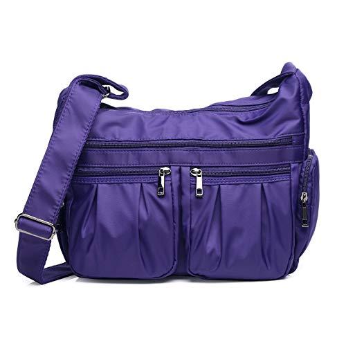 (Crossbody Bags for Women Multi Pocket Shoulder Bag Waterproof Nylon Travel Purses and Handbags Lightweight Work Bag)