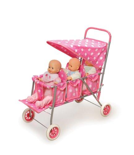 Badger Basket Triple Doll Stroller Pink Polka Dots Fits